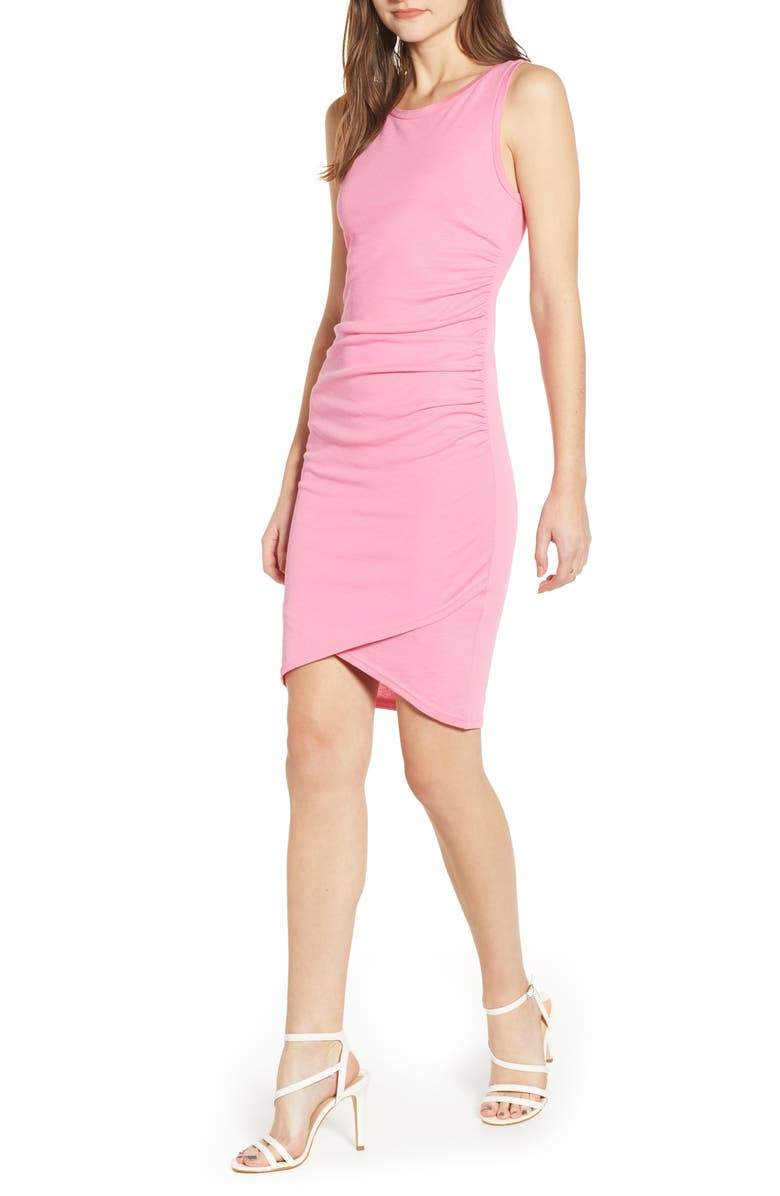 LEITH Ruched Body-Con Tank Dress, Main, color, PINK ZENNA