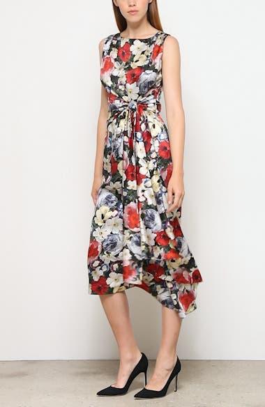 Poppy Collage Floral Silk Sleeveless Midi Dress, video thumbnail