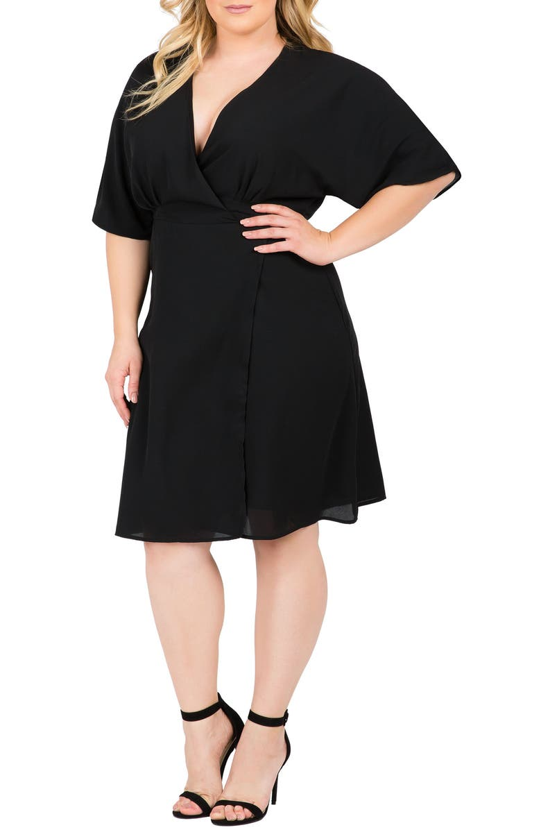 STANDARDS & PRACTICES Candice Georgette Wrap Dress, Main, color, BLACK