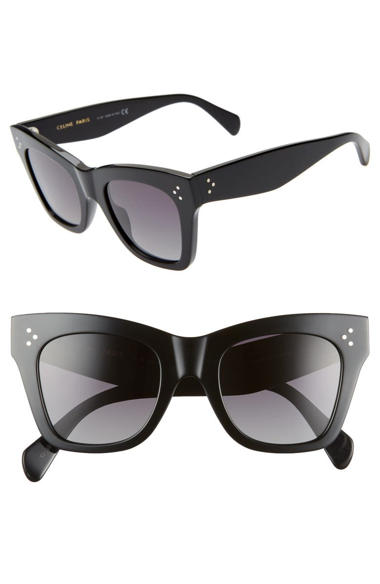 CELINE 50mm Square Sunglasses, Main, color, BLACK/ GREY POLAR