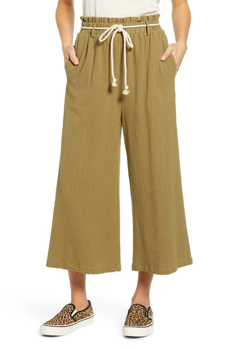 ALL IN FAVOR Textured Pull On Crop Pants, Main, color, OLIVE
