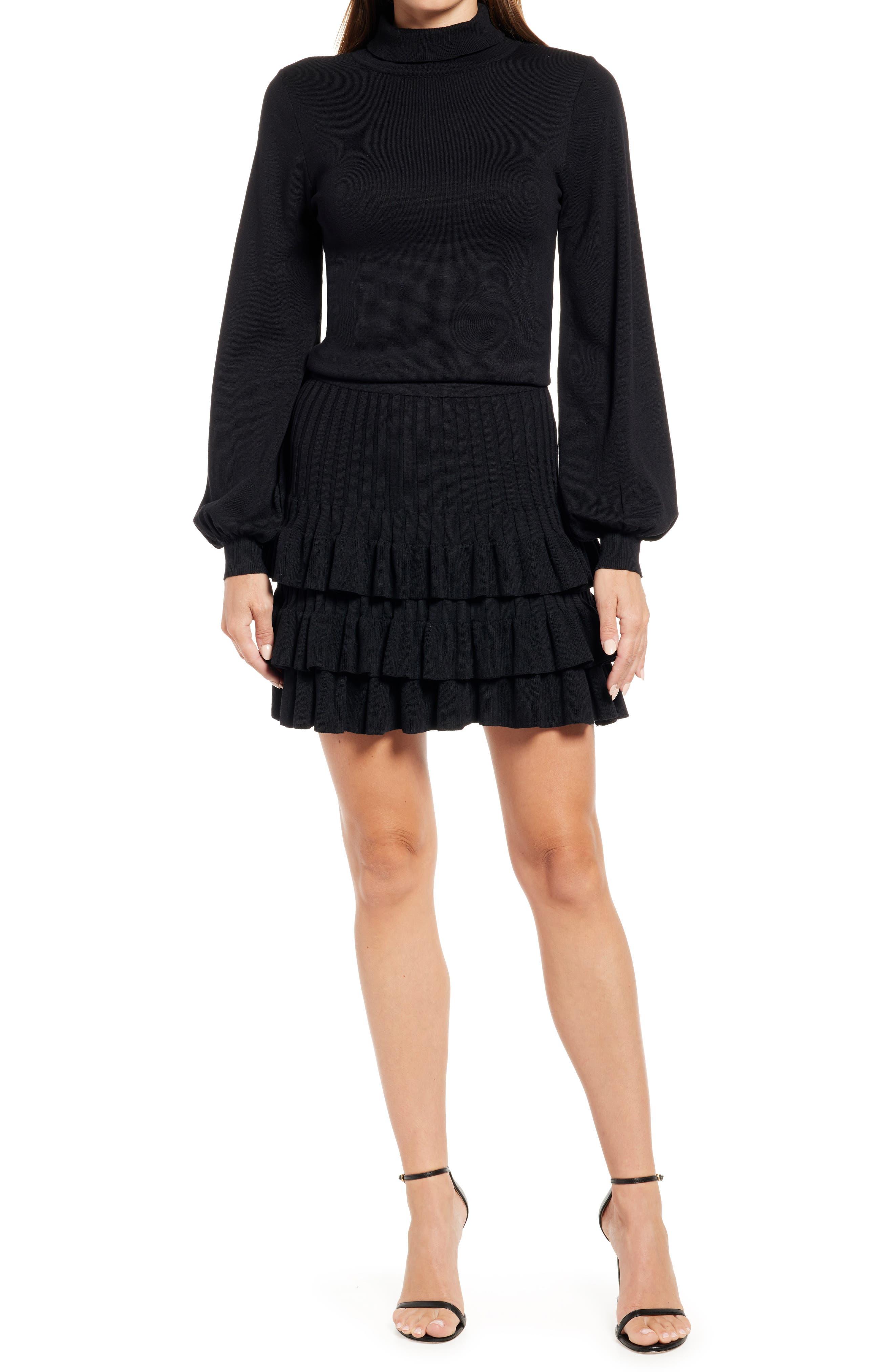 Mock Neck Mini Sweater Dress