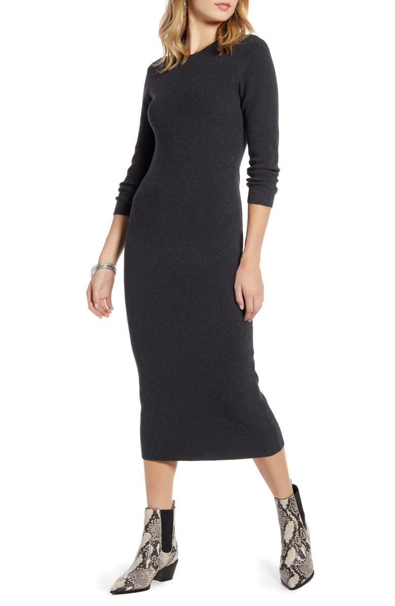 TREASURE & BOND Crewneck Long Sleeve Sweater Dress, Main, color, GREY DARK HEATHER