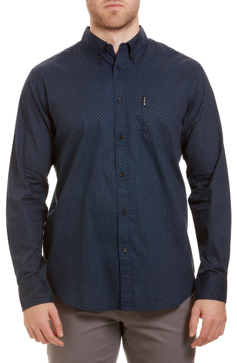 BEN SHERMAN Trim Fit Button-Down Sport Shirt, Main, color, DARK NAVY