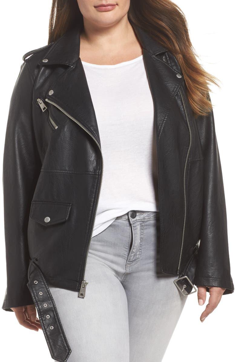 LEVI'S<SUP>®</SUP> Oversize Faux Leather Moto Jacket, Main, color, 001