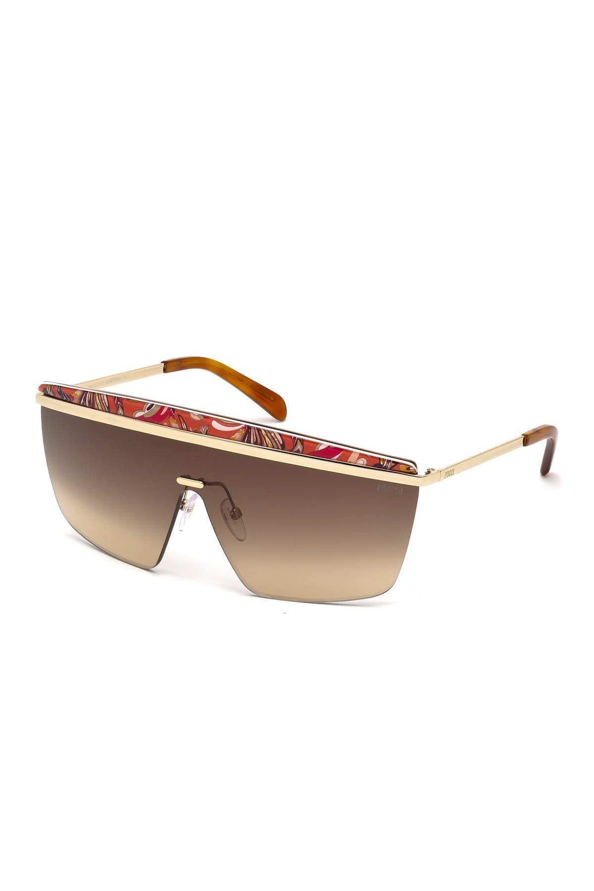 Image of Emilio Pucci 56mm Squared Shield Sunglasses