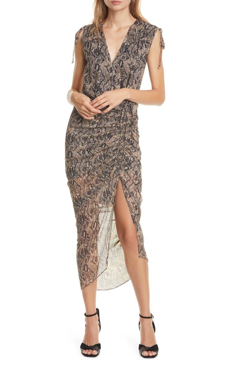 VERONICA BEARD Teagan Snake Print Ruched Silk Dress, Main, color, NUDE