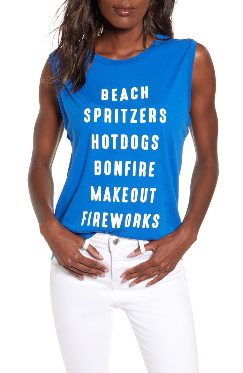 WILDFOX July List Graphic Tank, Main, color, SLATE