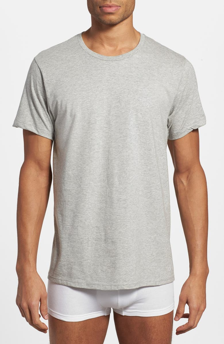 CALVIN KLEIN 3-Pack Cotton T-Shirt, Main, color, HEATHER GREY/ WHITE/ BLACK