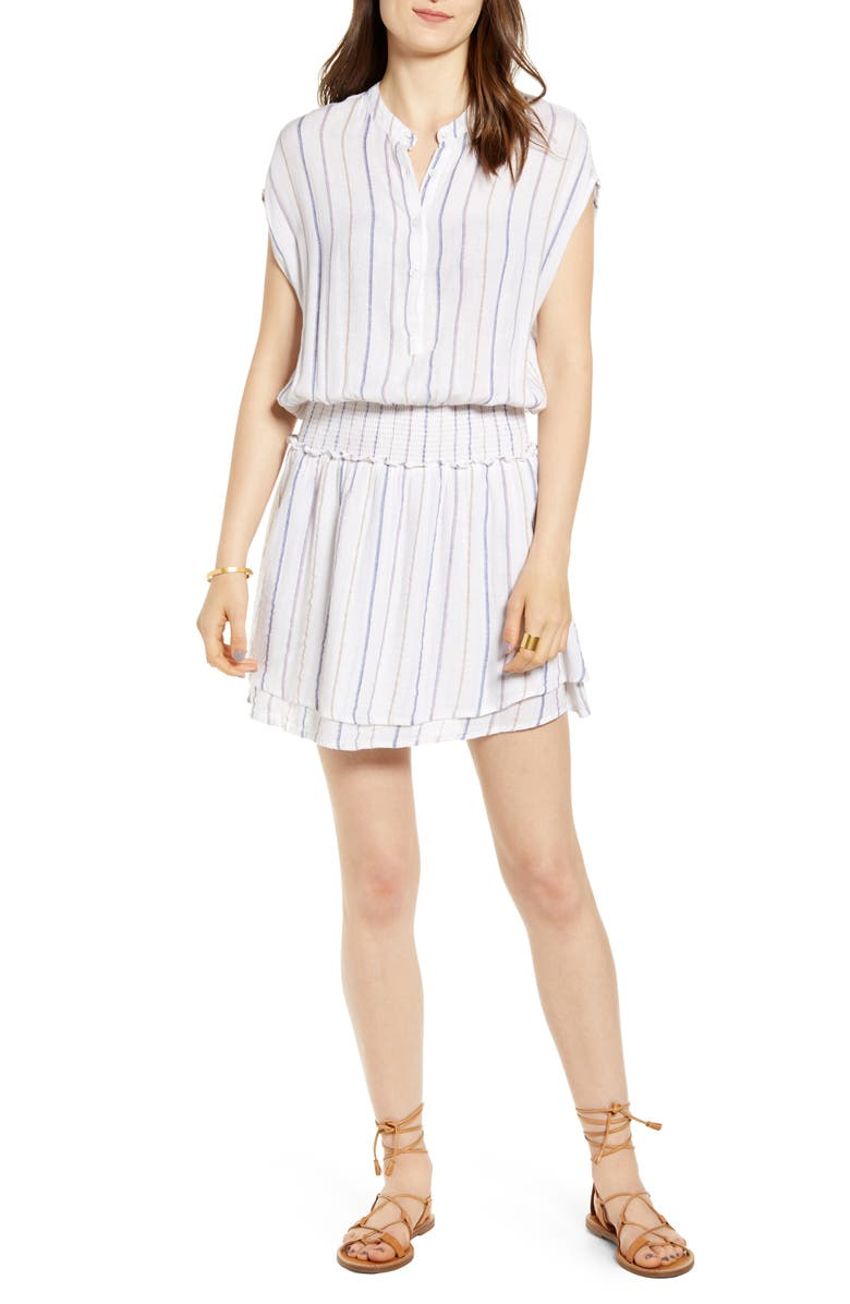 RAILS Angelina Smocked Waist Minidress, Main, color, BELLE STRIPE