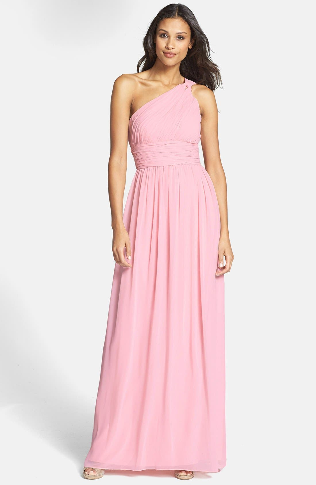 ,                             'Rachel' Ruched One-Shoulder Chiffon Gown,                             Main thumbnail 104, color,                             650