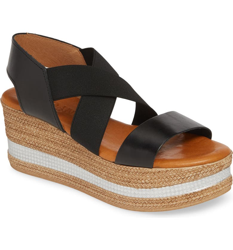 CORDANI Barnaby Wedge Sandal, Main, color, BLACK/ BLACK LEATHER