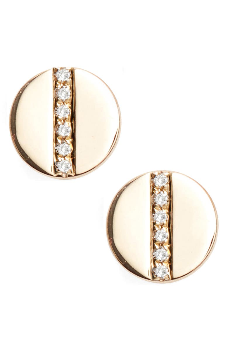 EF COLLECTION Screw Diamond Stud Earrings, Main, color, YELLOW GOLD