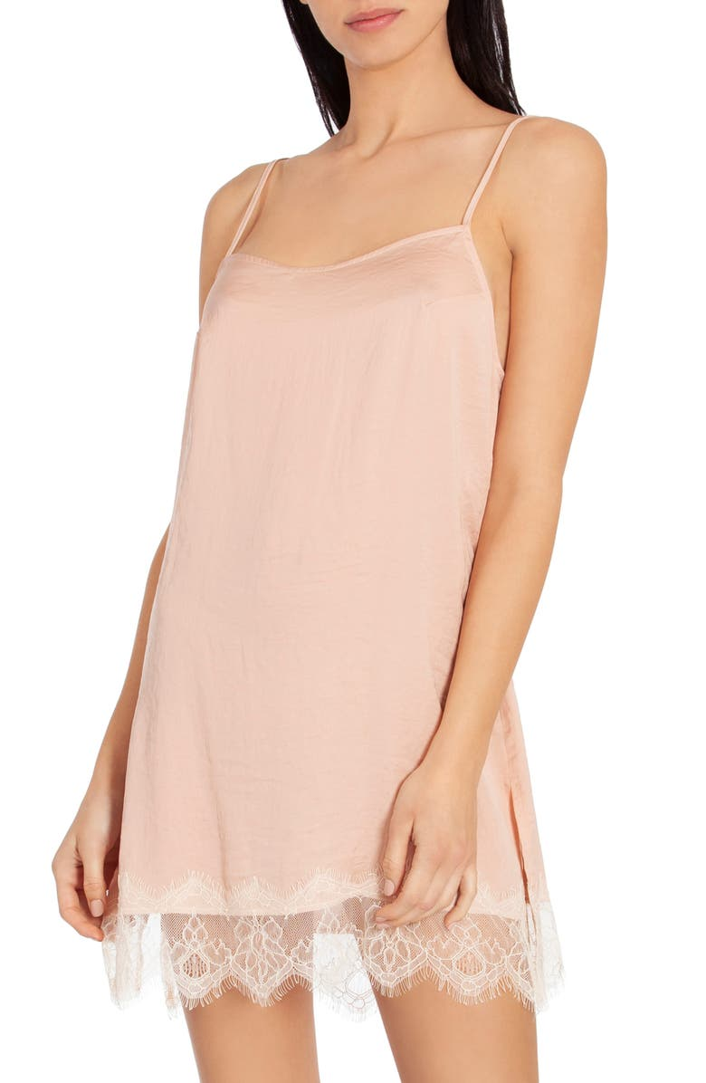 MIDNIGHT BAKERY Hammered Satin Chemise, Main, color, PEACH