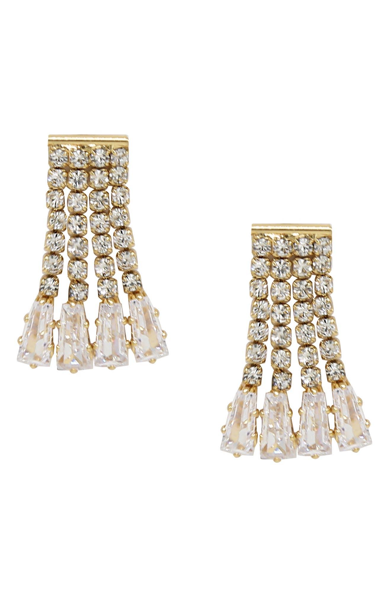 Crystal Fringe Stud Earrings