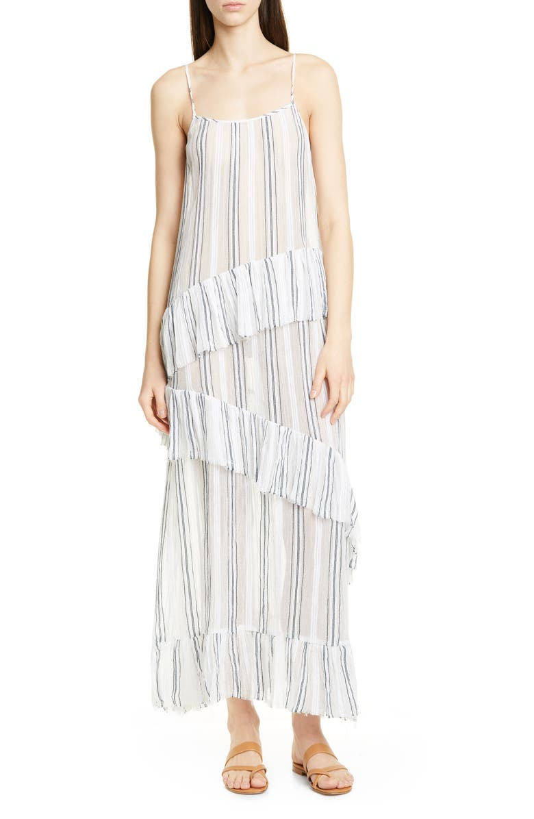 ATM ANTHONY THOMAS MELILLO Stripe Gauze Ruffle Slipdress, Main, color, 900