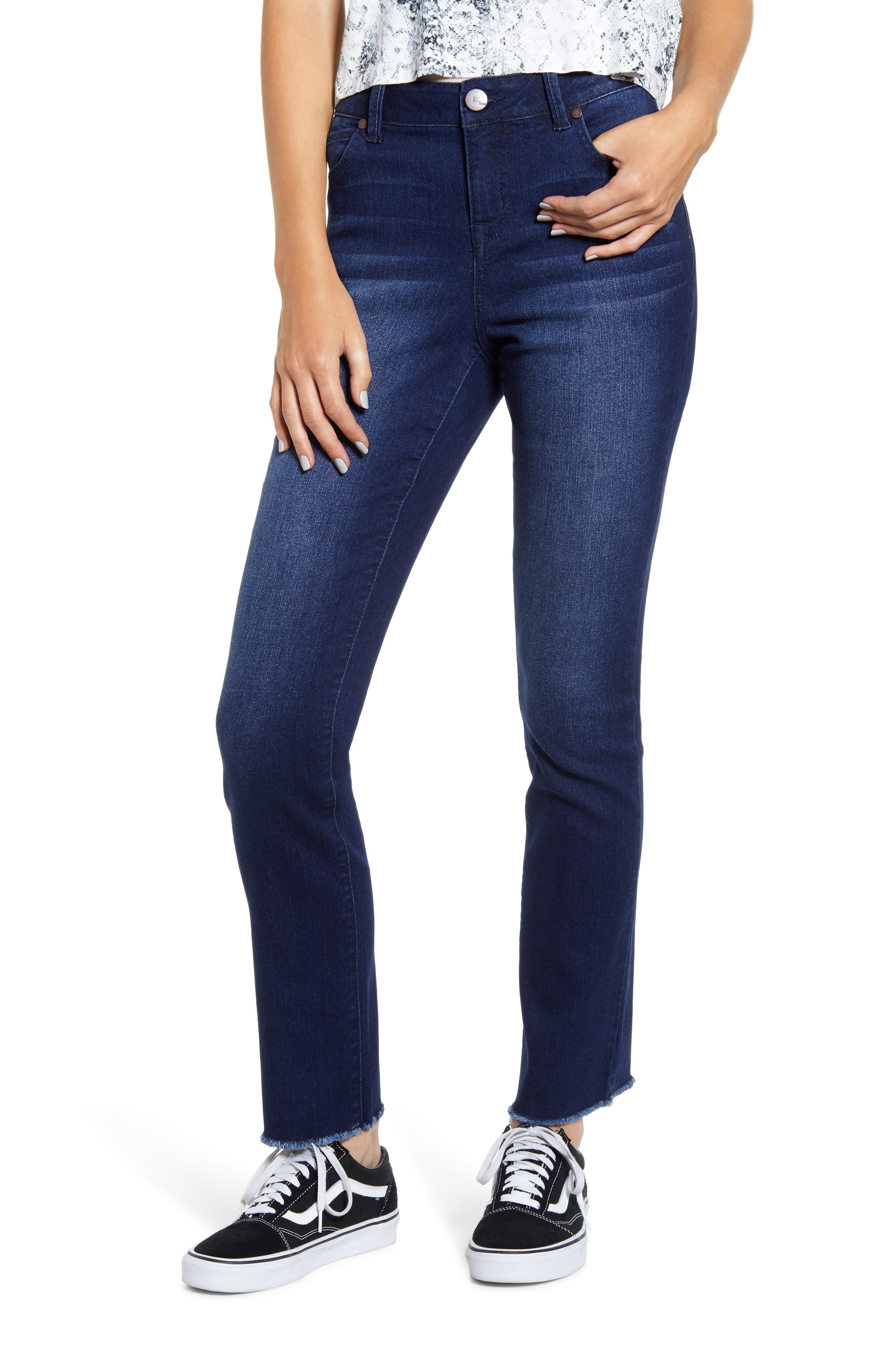 Women's 1822 Denim Re: denim High Waist Raw Hem Jeans,  24 - Blue