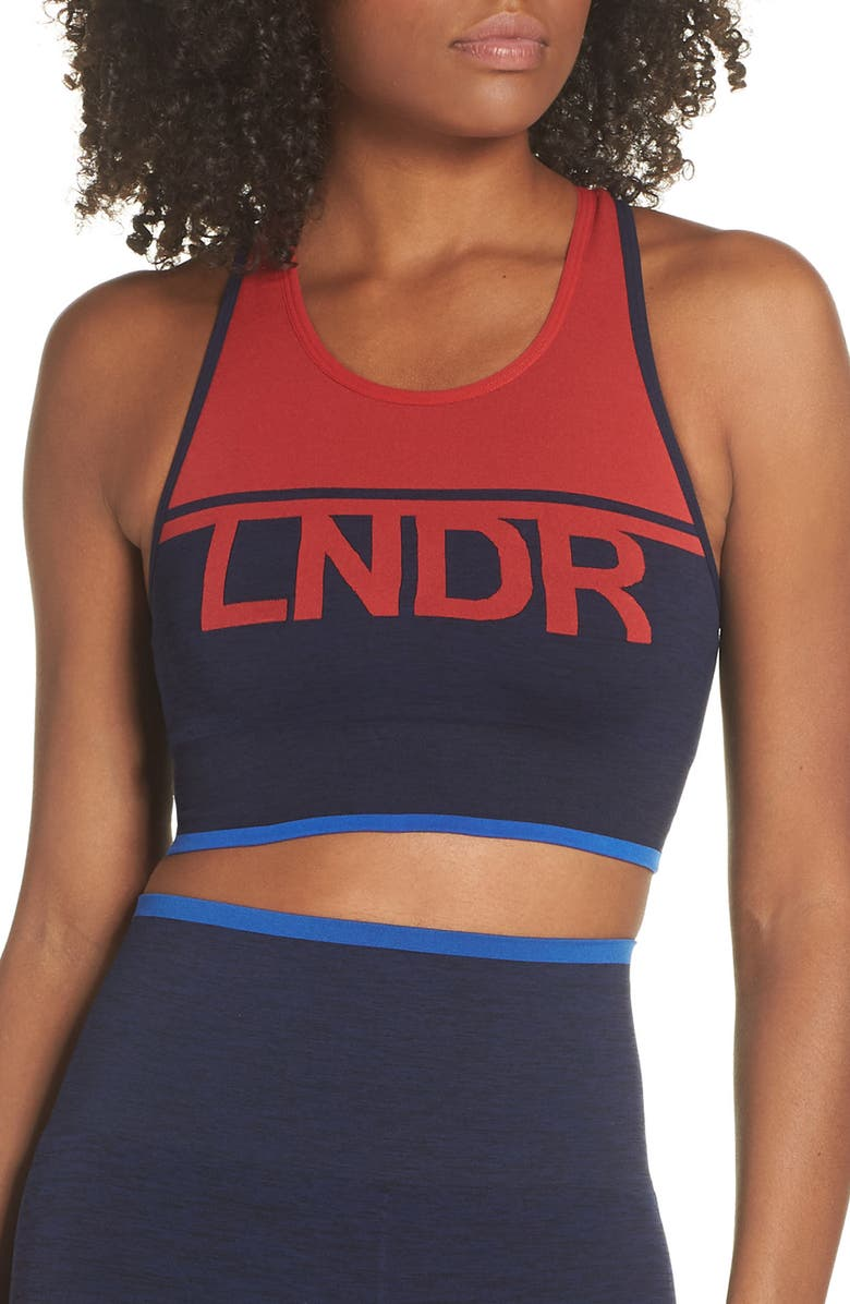 LNDR A-Team Sports Bra, Main, color, A-TEAM NAVY MARL