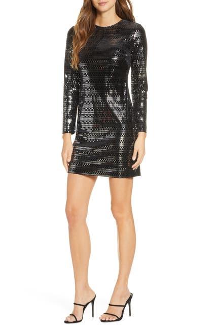 Image of Vince Camuto Long Sleeve Sequin Velvet Minidress