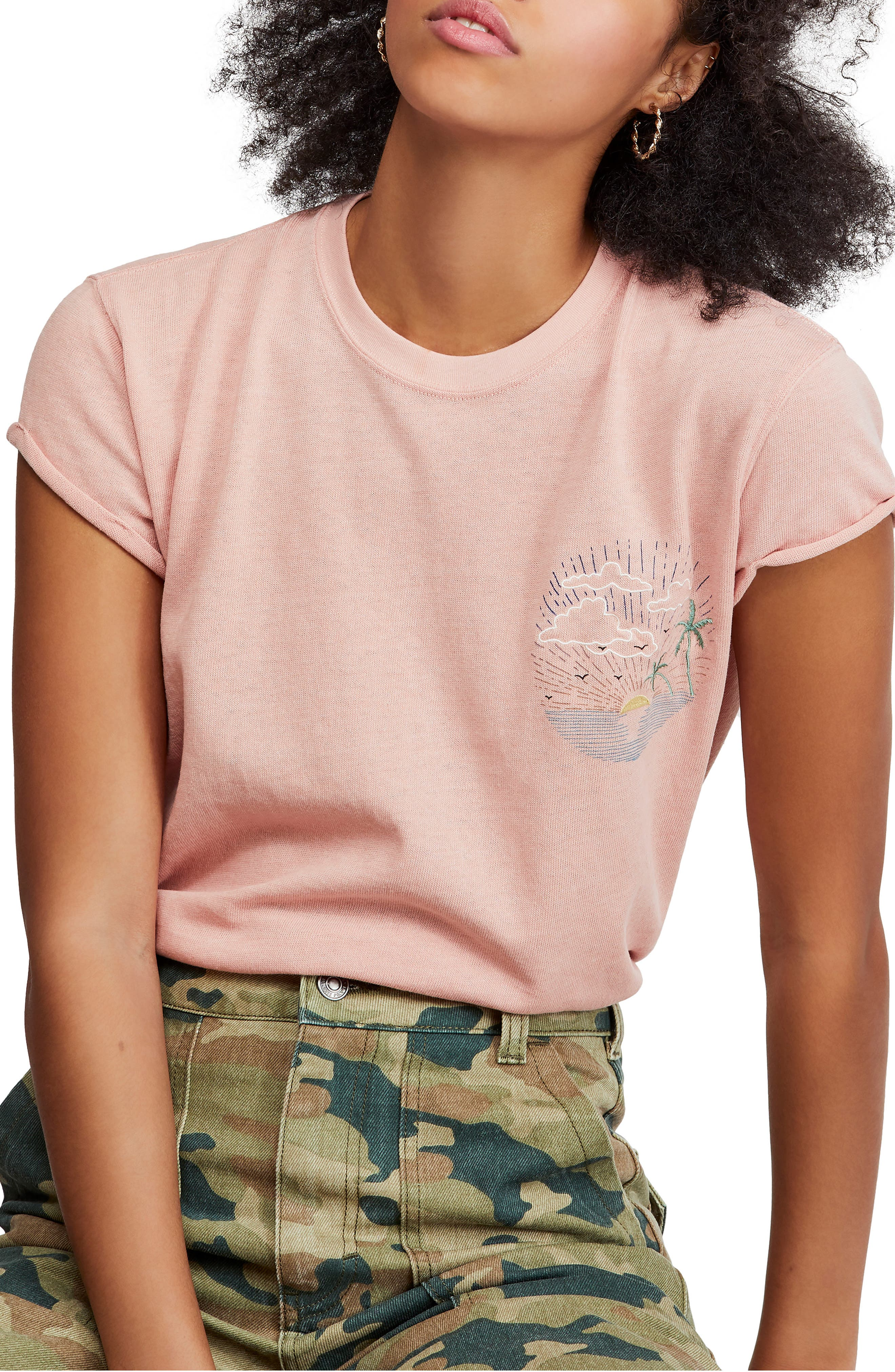 Free People Wipe Out Graphic Tee, Pink