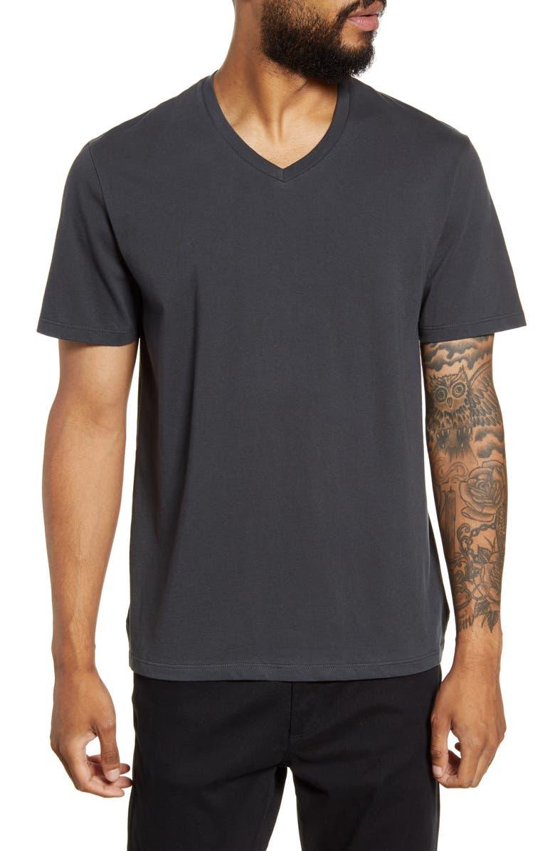 VINCE Regular Fit Garment Dyed V-Neck T-Shirt, Main, color, WASHED BLACK