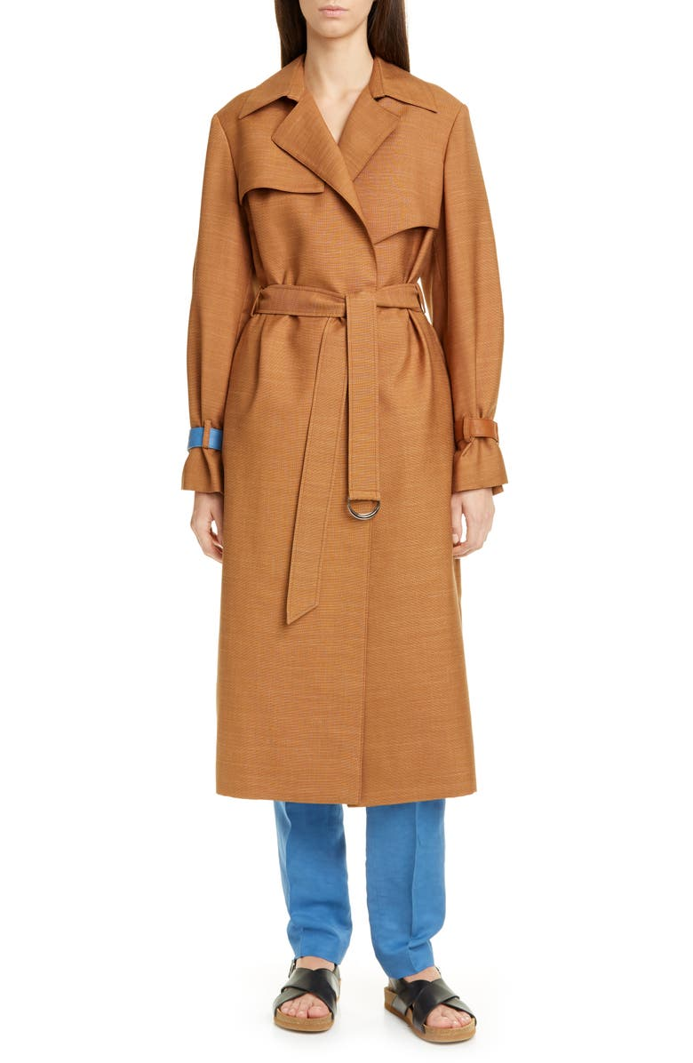 PARTOW Meadow Wool Blend Trench Coat, Main, color, TOBACCO/SKY