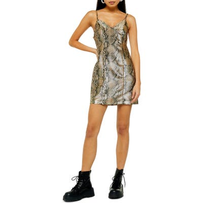 Topshop Snake Print Minidress, US (fits like 0) - Brown