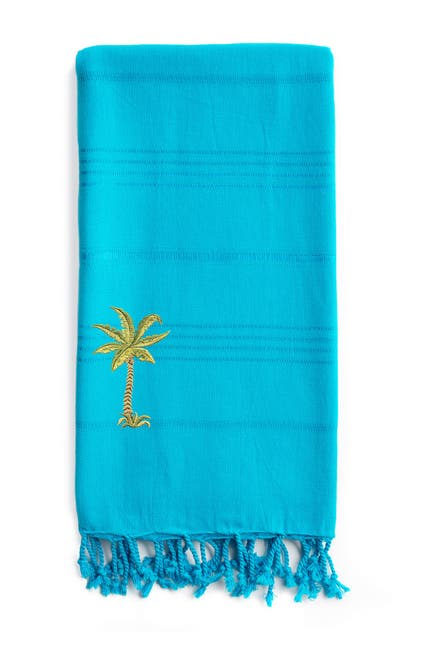 Image of LINUM HOME 100% Turkish Cotton Summer Fun - Breezy Palm Tree Pestemal Beach Towel - Turquoise