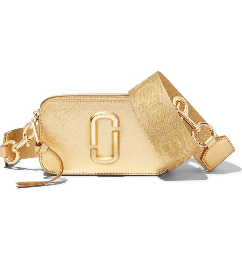 THE MARC JACOBS The Snapshot DTM Metallic Leather Crossbody, Main, color, GOLD