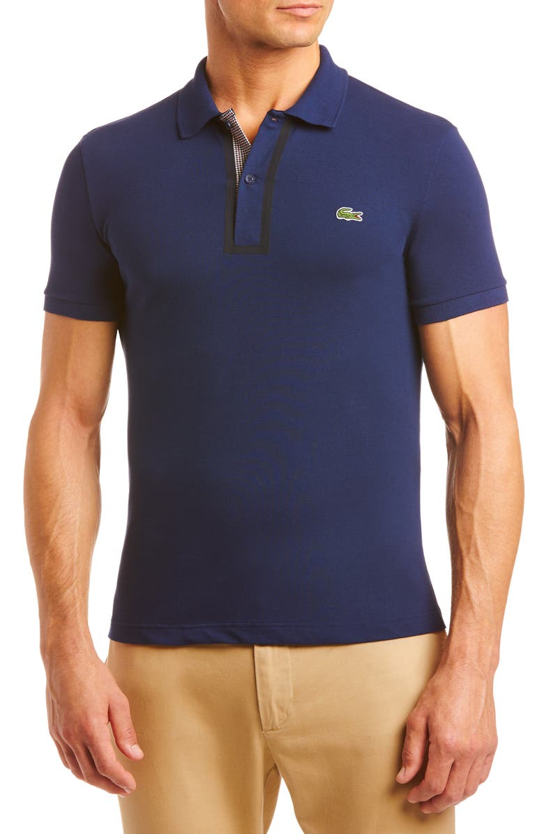 LACOSTE Fleece Piqué Polo, Main, color, NAVY BLUE