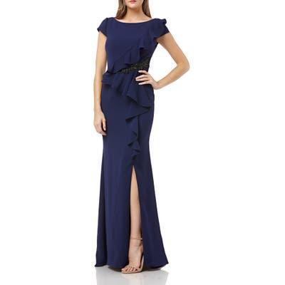 Carmen Marco Valvo Infusion Cap Sleeve Ruffle Gown, Blue