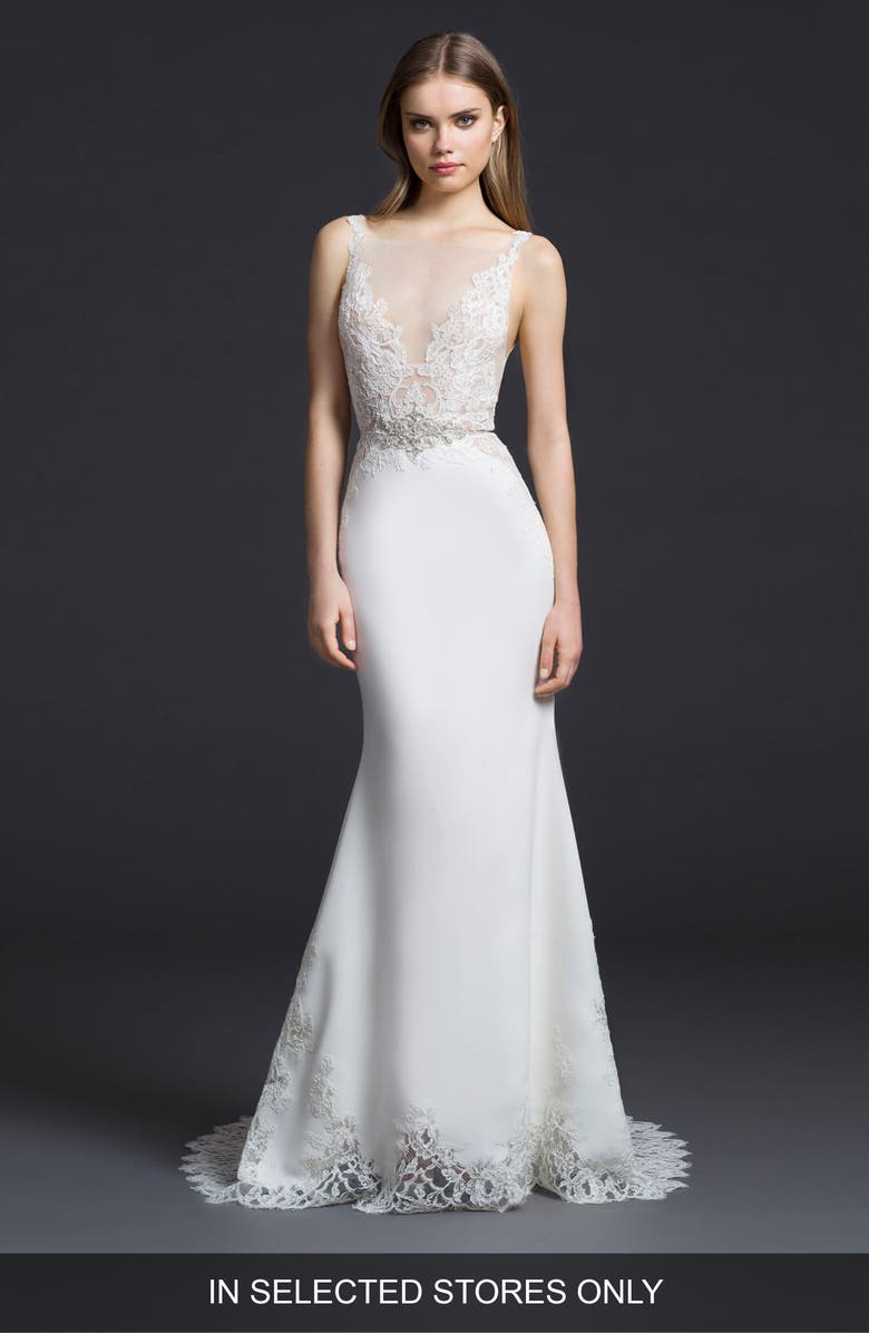 LAZARO Illusion V-Neck Trumpet Gown, Main, color, IVORY