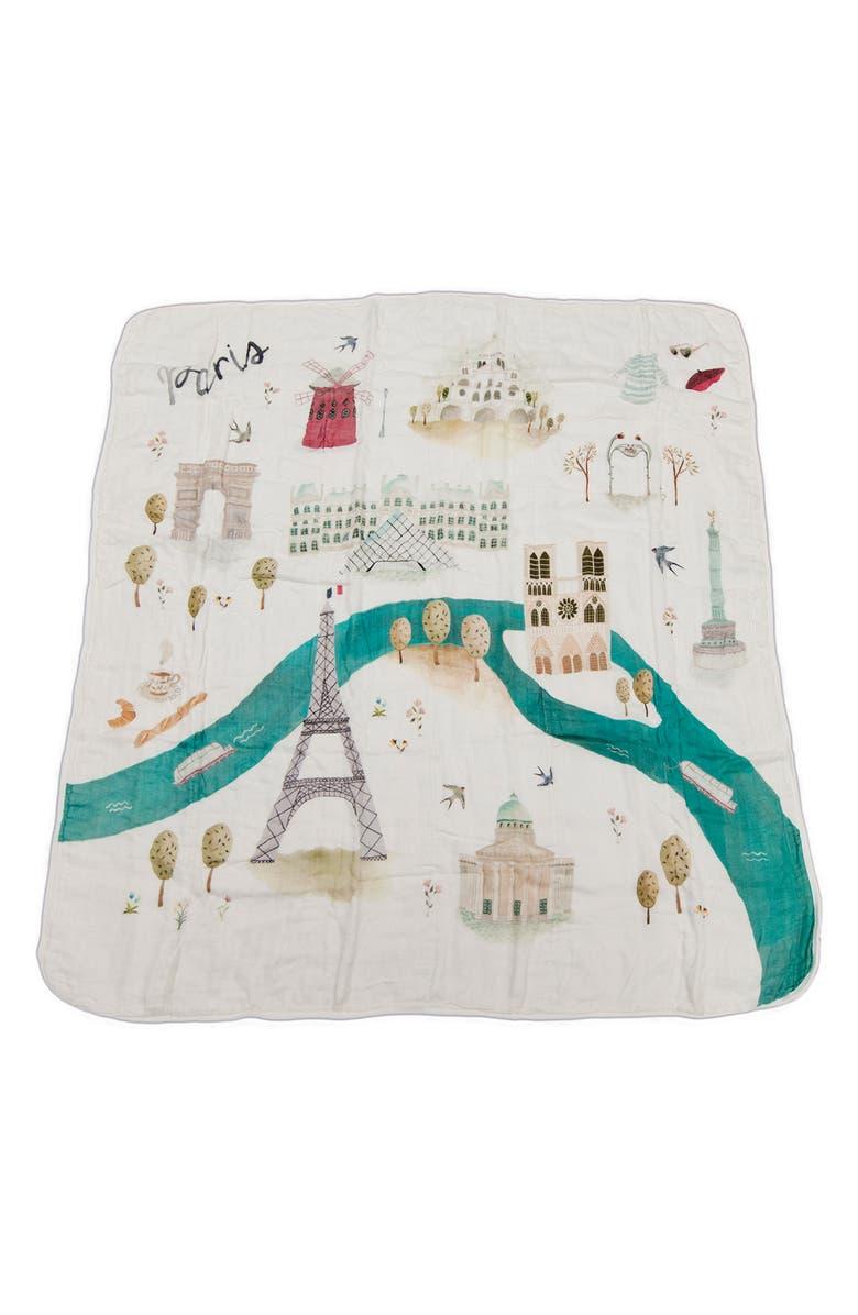LOULOU LOLLIPOP Paris Deluxe Muslin Swaddle Blanket, Main, color, 100