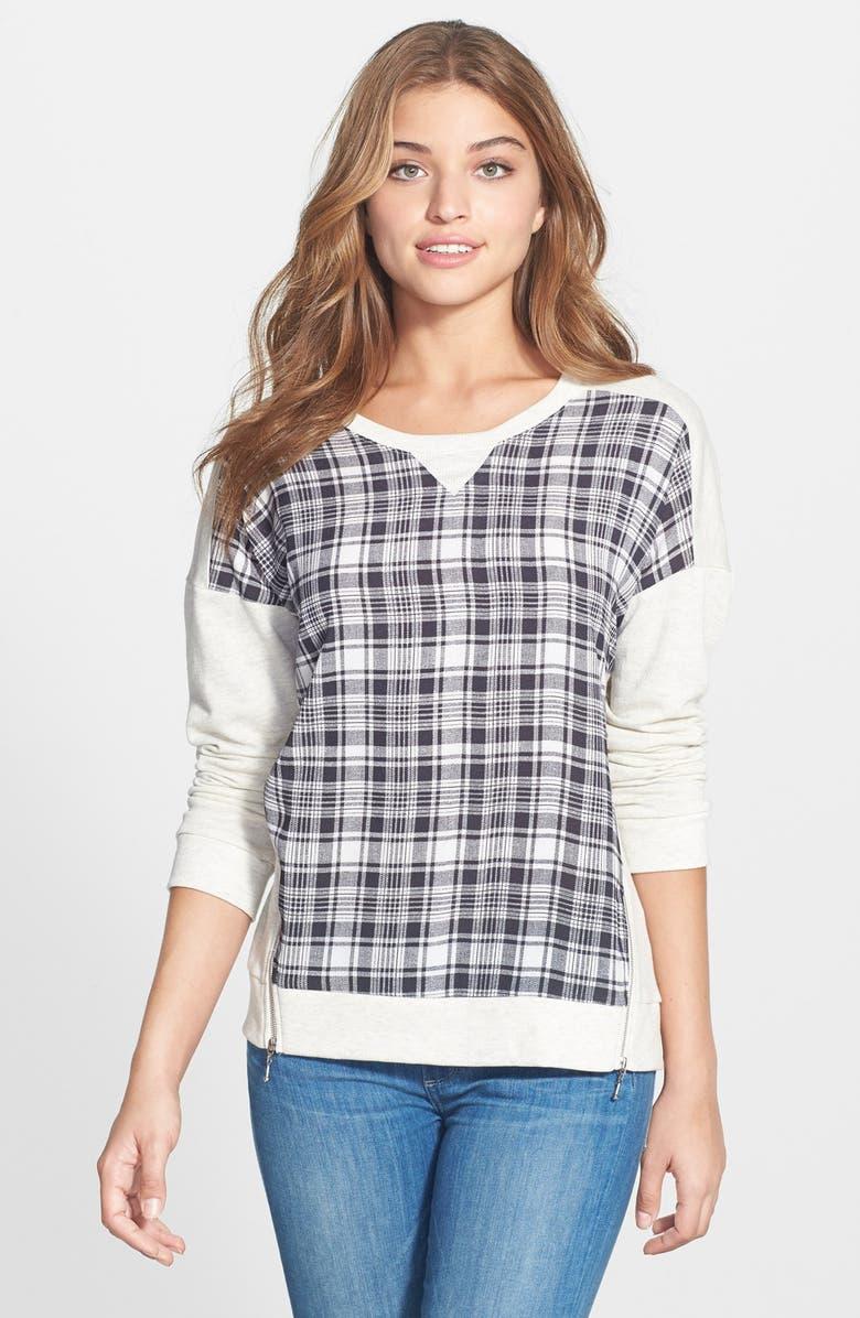 BOBEAU Plaid Front Side Zip Sweatshirt, Main, color, 002