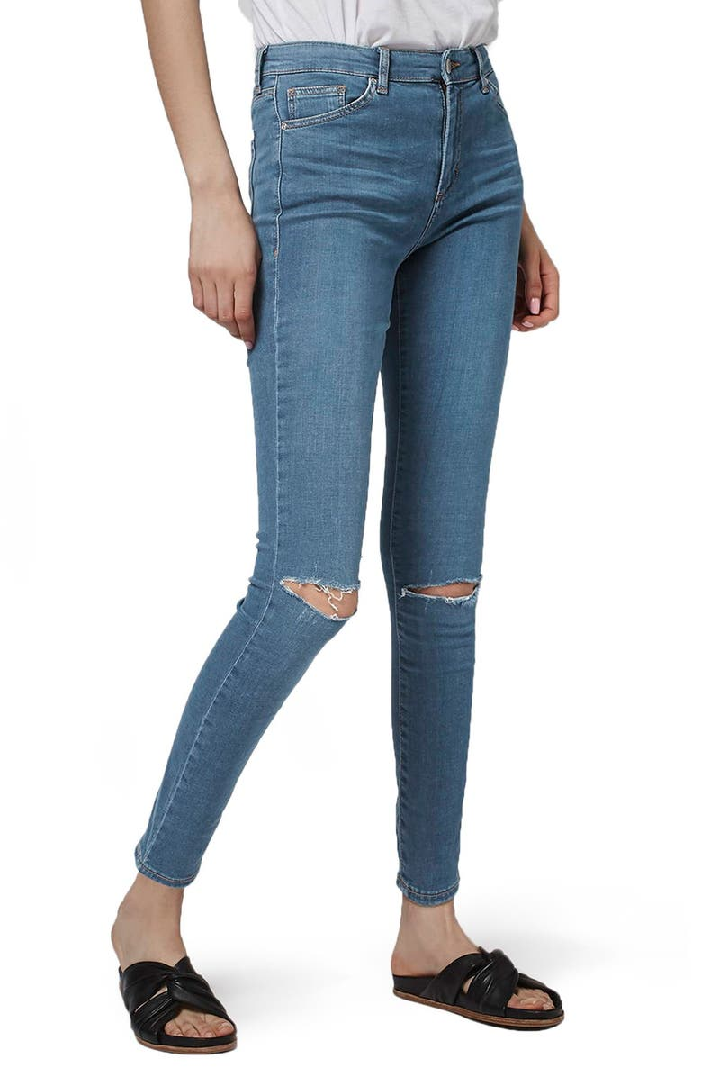 TOPSHOP Leigh Ripped Skinny Jeans, Main, color, 400