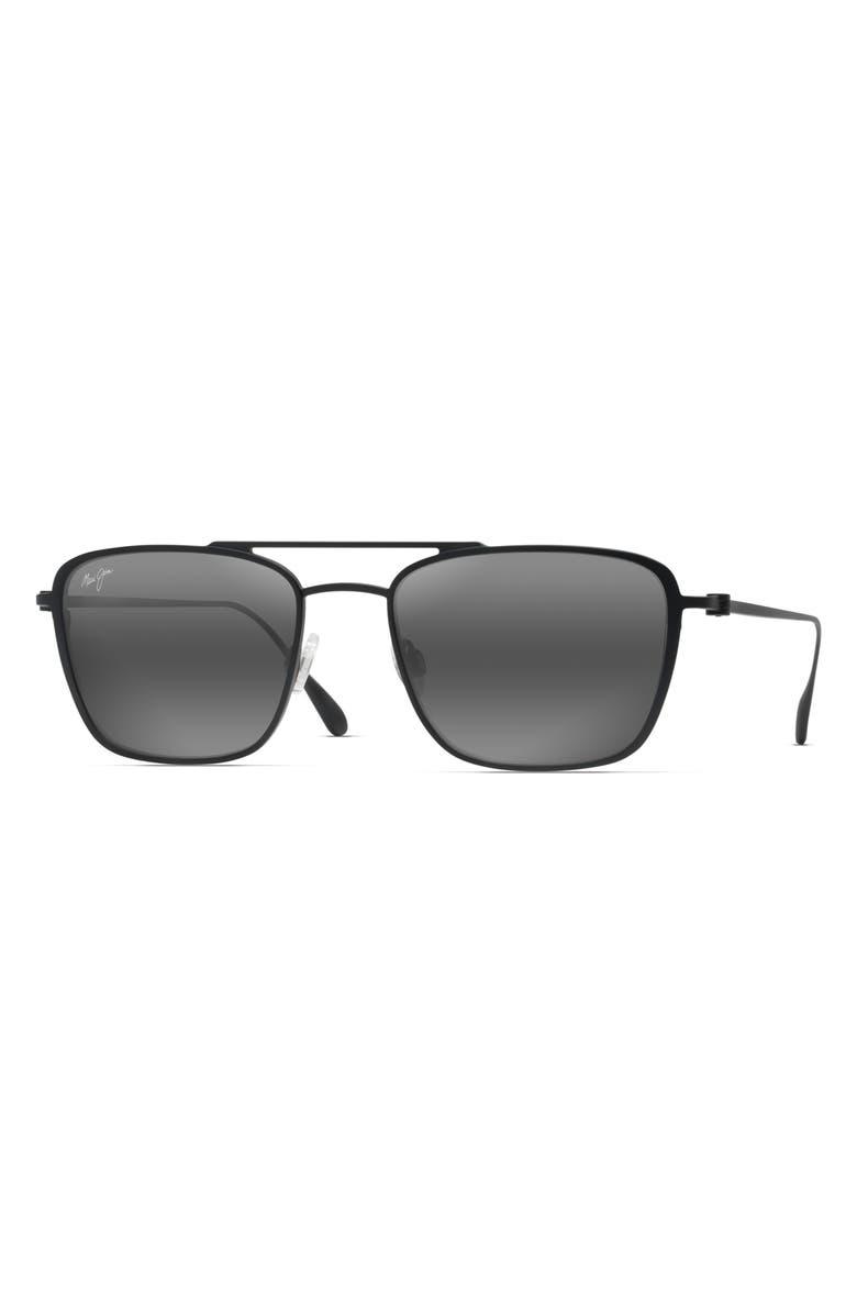 MAUI JIM Ebb & Flow 54mm Polarized Navigator Sunglasses, Main, color, MATTE BLACK