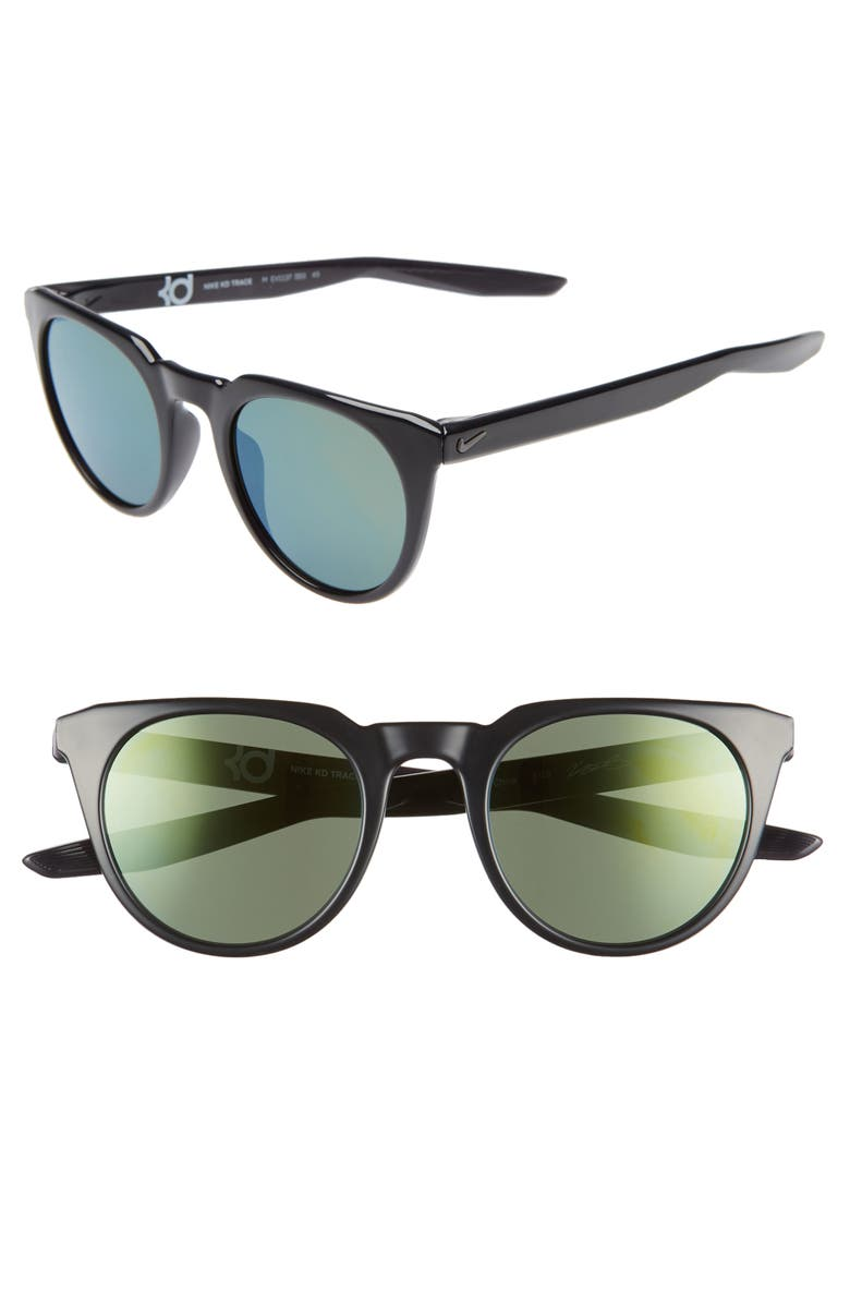 NIKE Trace 49mm Mirrored Round Sunglasses, Main, color, 020