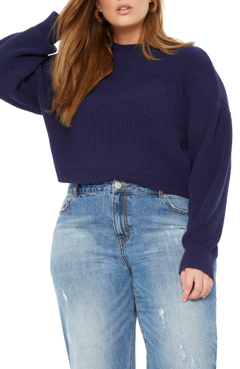 ELOQUII Bishop Sleeve Sweater, Main, color, EVENING BLUE