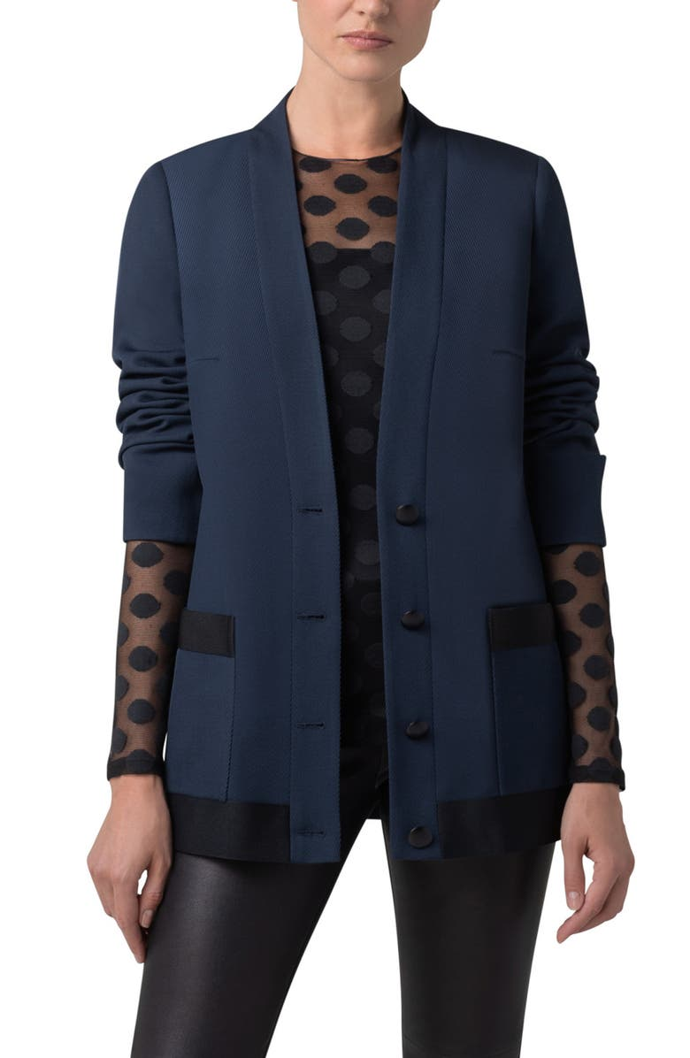 AKRIS PUNTO Contrast Trim Wool Tricotine Blazer, Main, color, DENIM