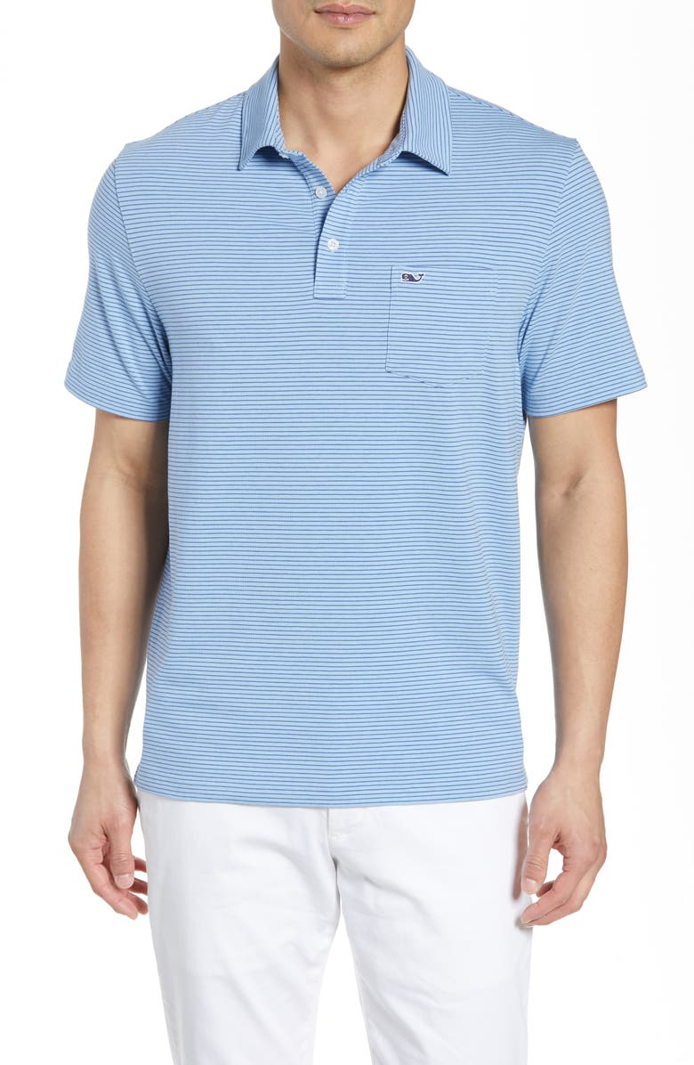 VINEYARD VINES Edgartown Pinstripe Pocket Polo, Main, color, JAKE BLUE
