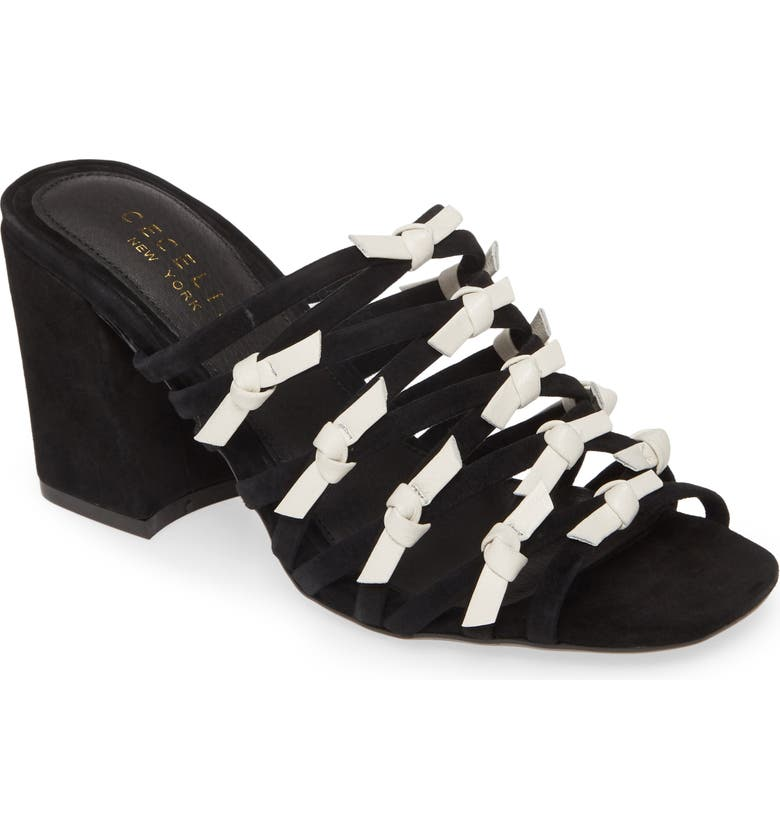 CECELIA NEW YORK Knotted Strappy Slide Sandal, Main, color, BLACK/ WHITE LEATHER