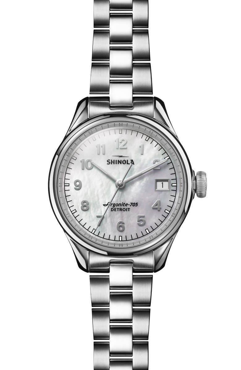 SHINOLA Vinton Bracelet Watch, 32mm, Main, color, SILVER/ WHITE MOP/ SILVER