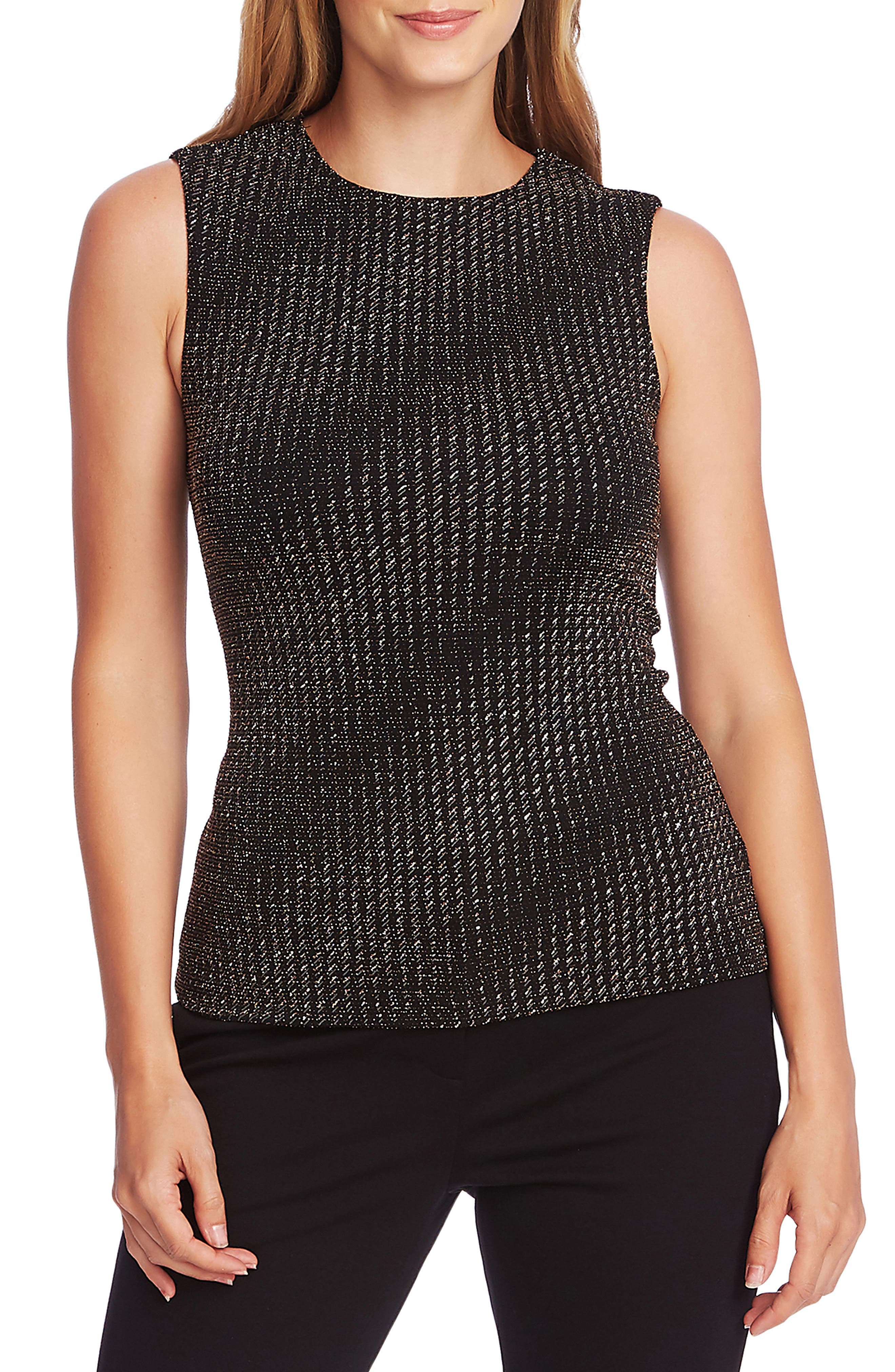Vince Camuto Knits Metallic Texture Knit Sleeveless Top
