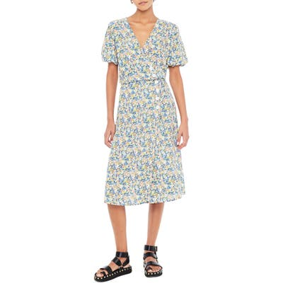 Faithfull The Brand Marta Floral Wrap Midi Dress, Blue/green