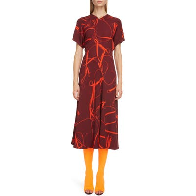 Victoria Beckham Bridle Print Crepe Midi Dress, US / 8 UK - Burgundy