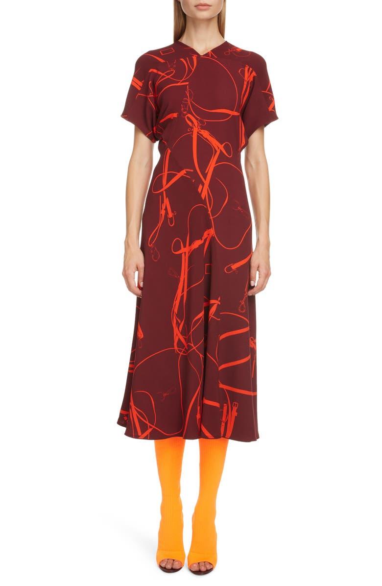 VICTORIA BECKHAM Bridle Print Crepe Midi Dress, Main, color, 933