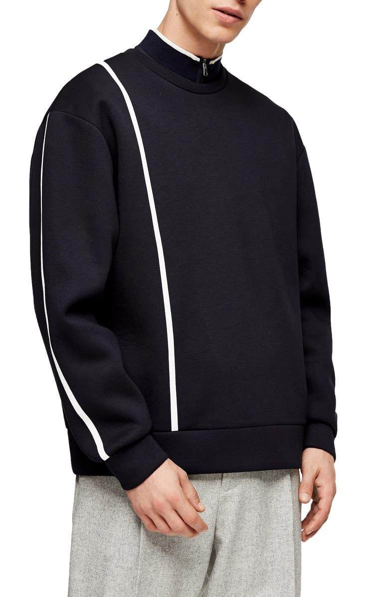 TOPMAN Premium Line Crewneck Sweatshirt, Main, color, NAVY