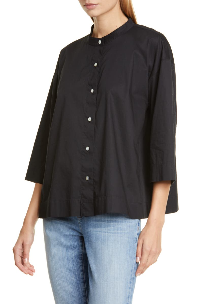 EILEEN FISHER Band Collar Stretch Organic Cotton Blouse, Main, color, BLACK