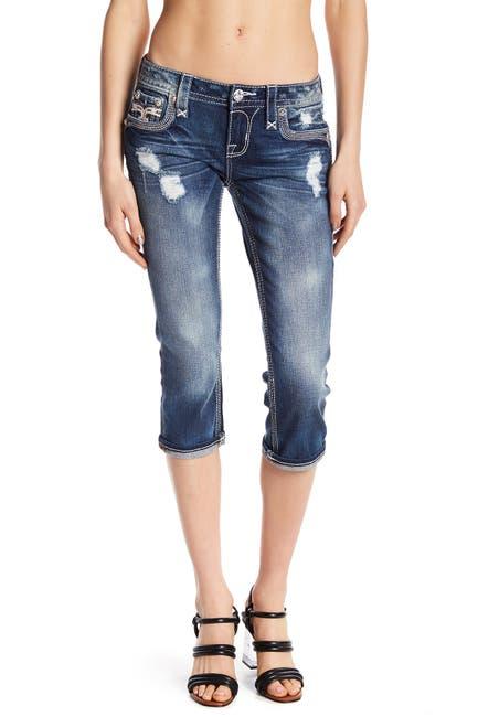 Image of Rock Revival Fleur-de-Lis Button Capri Jeans