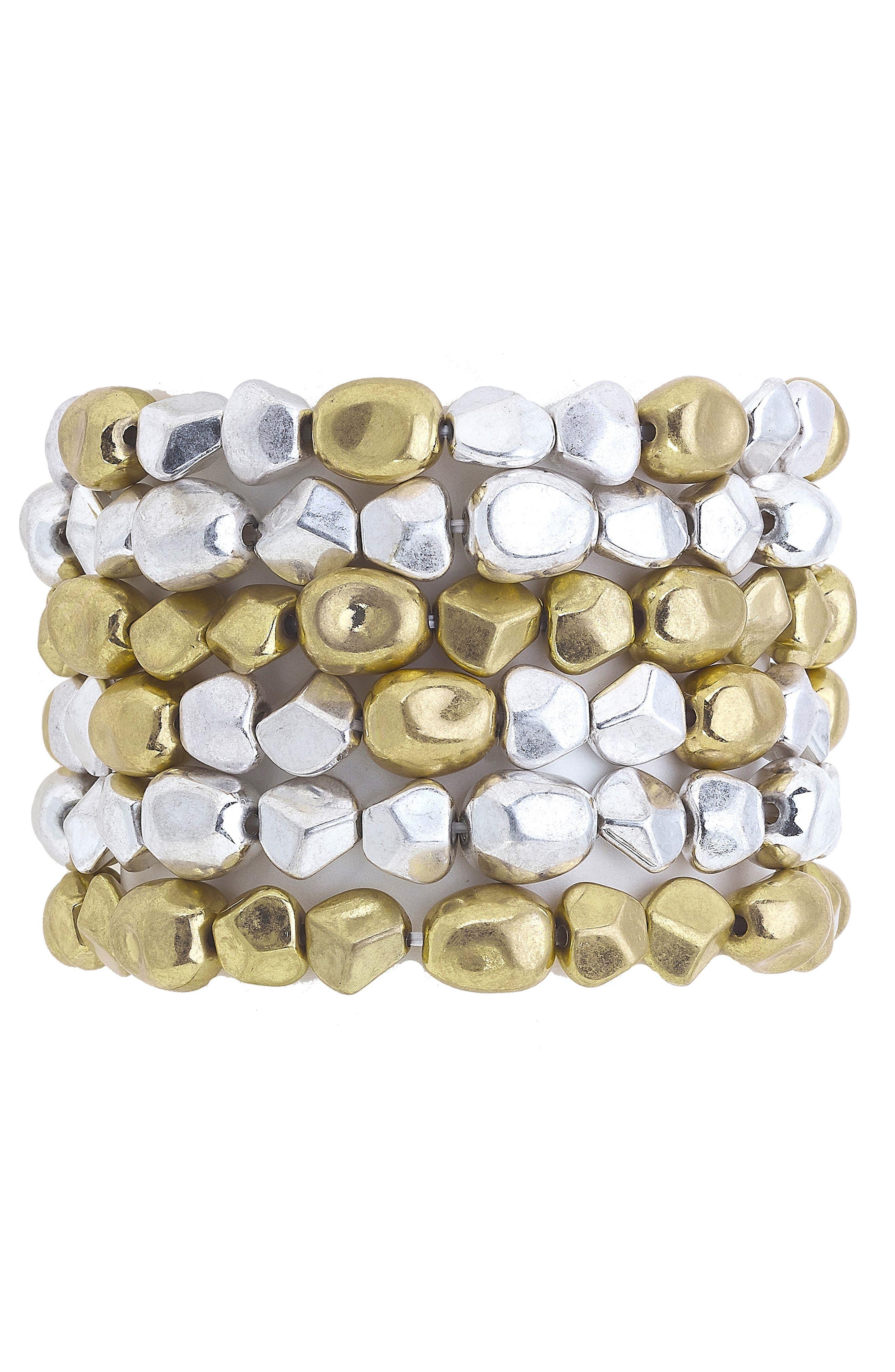 Set Of Six Beaded Stacking Bracelets